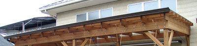 ウッドデッキ屋根の軒樋