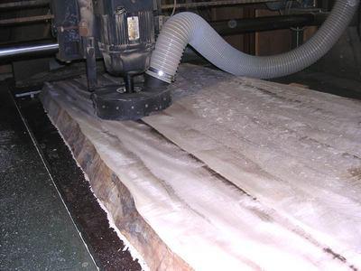 栃無垢耳付き1枚板テーブル天板木表粗加工